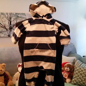 3-6 month onsie, blue and white strip by Baby GAp